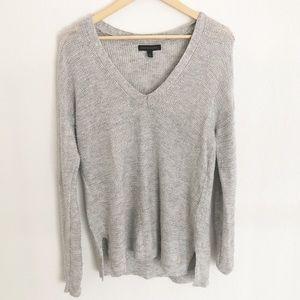 Banana Republic Grey V Neck Knit Sweater